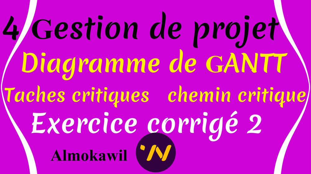 Gestion De Projet Exercice Corrige Diagramme De Gantt Chemin Critique Almokawil